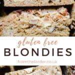 overhead of gluten-free blondies on a wooden board