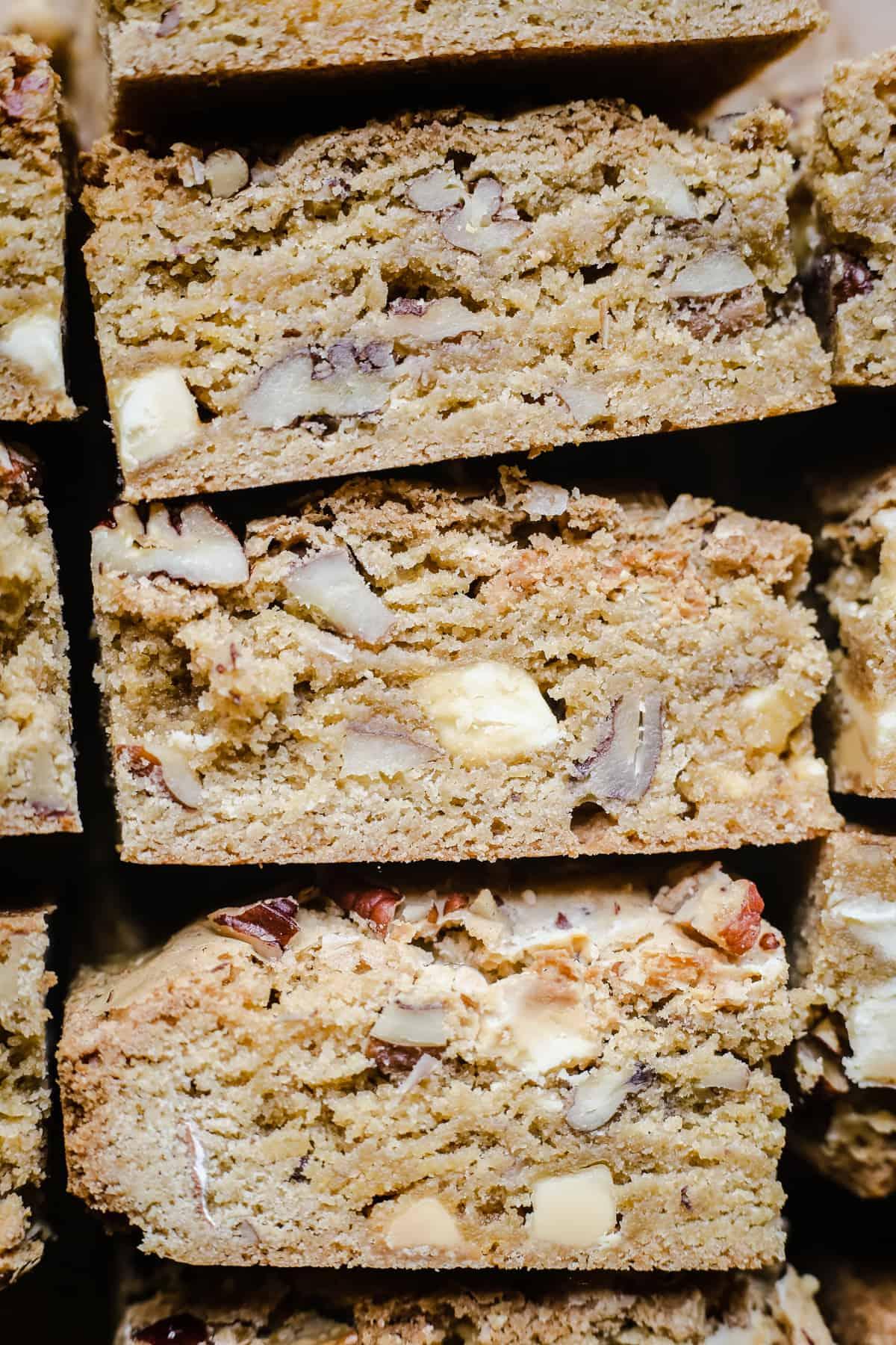 close up of gluten-free blondies