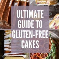 Image Collection of gluten-free cakes with text superimposed
