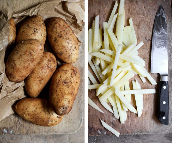 Two images side by side of potatoes and cut potatoes