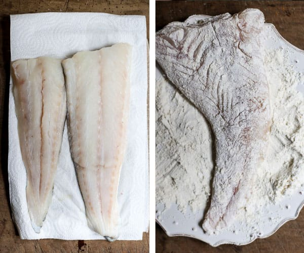 Two image side by side of fresh cod fillet, one is covered in flour