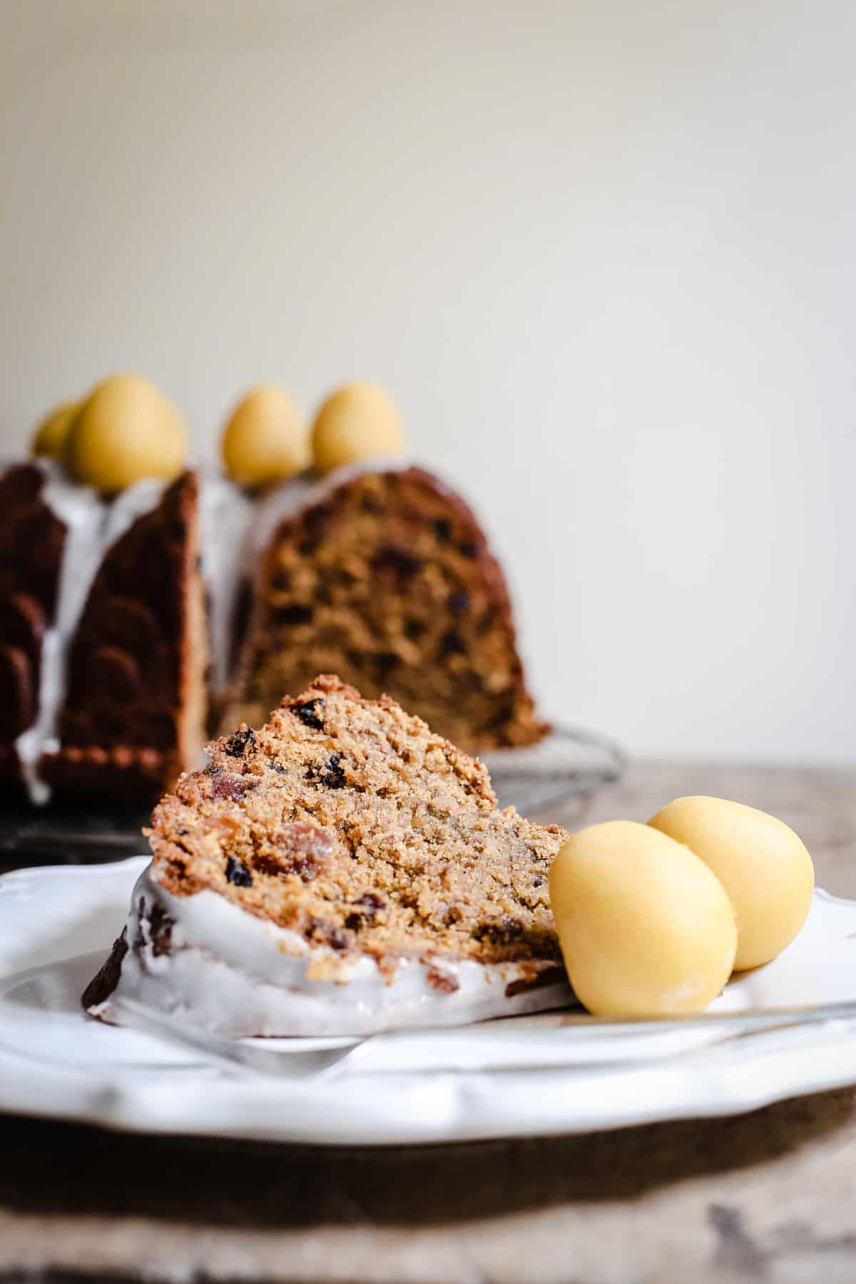 A slice of Simnel Cake on a plate