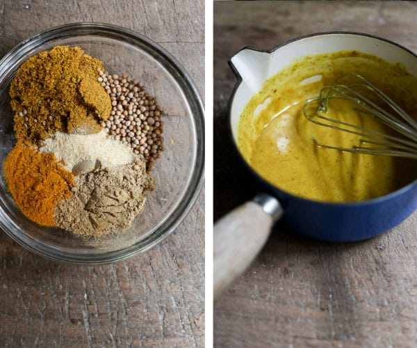 Two images side by side of spice mix and then curry sauce