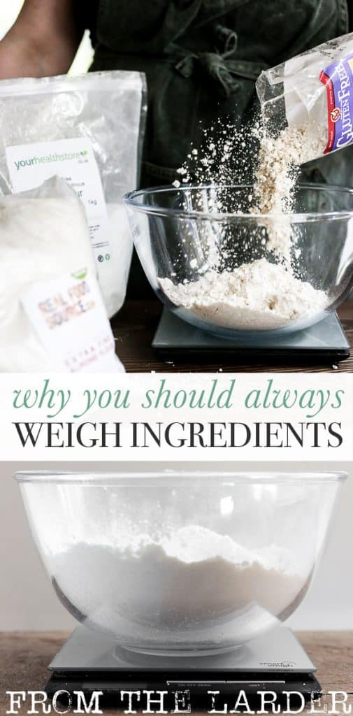 baker weighing flour in a glass mixing bowl plus an image of flour in a mixing bowl on a set of scales with text overlay