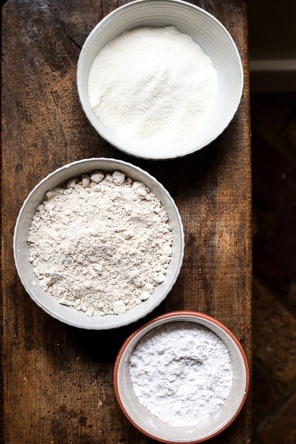 Three bowls of gluten-free flours