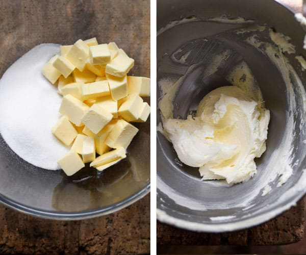 Process shots for gluten-free shortbread. showing the butter and sugar in a bowl and then mixed up