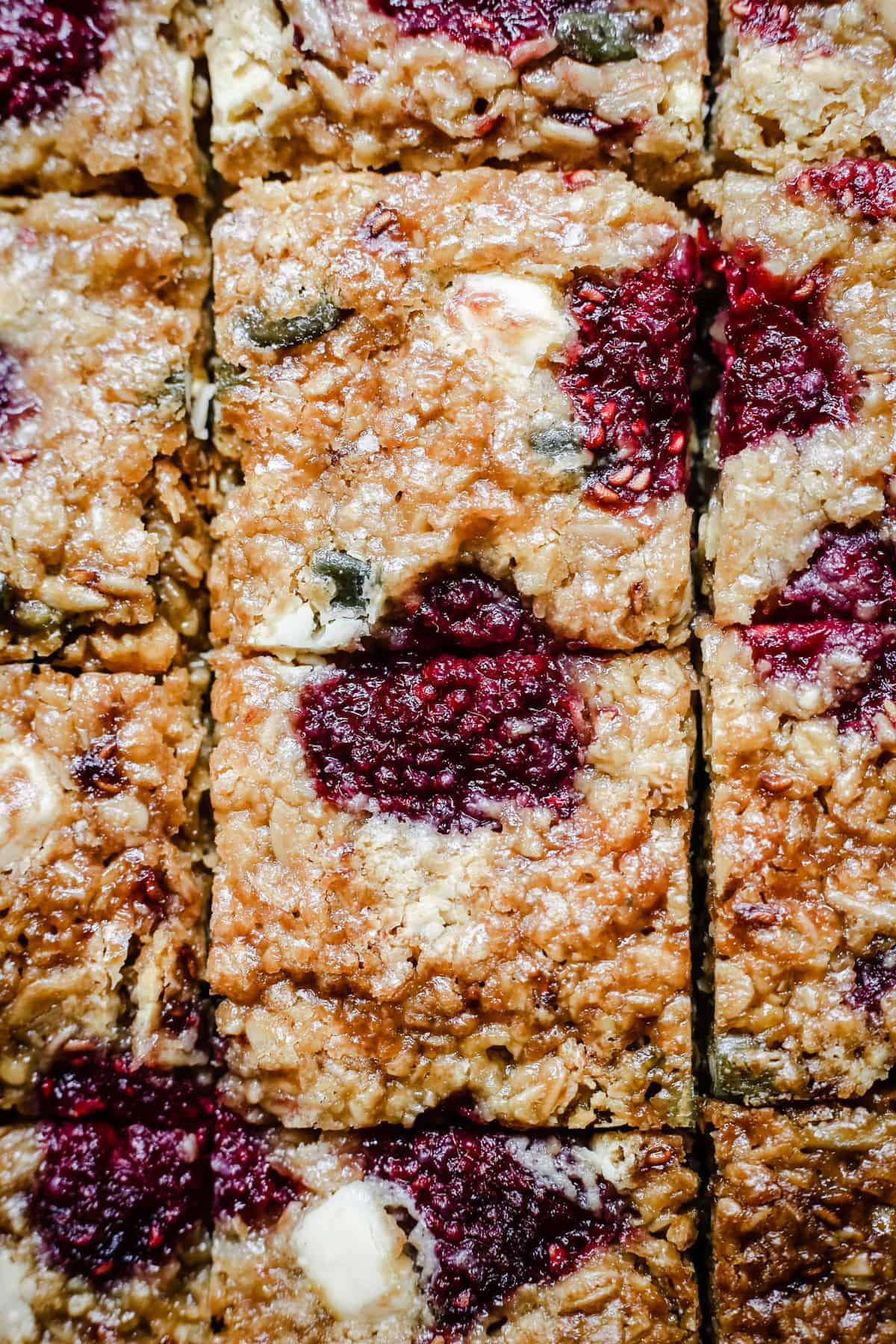 Close up of White Chocolate Raspberry Flapjacks