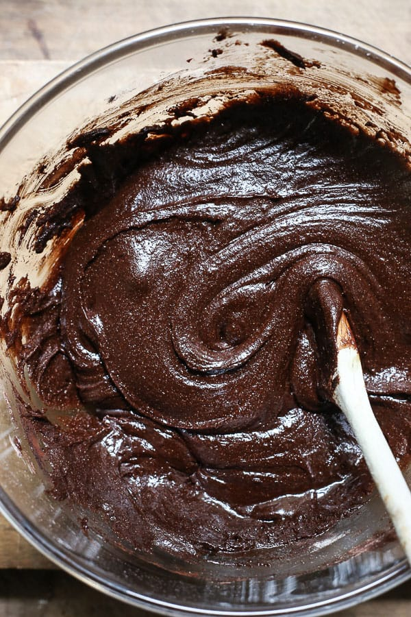 A mixing bowl of brownie batter