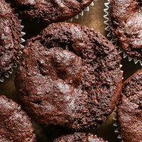 close up of chocolate courgette muffins