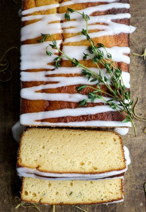 Whole Lemon Cake from above with slices