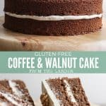 Collage of images of a gluten-free coffee and walnut cake