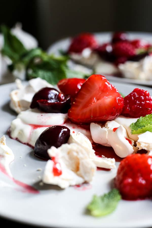 close up view of a plate of Eton Mess