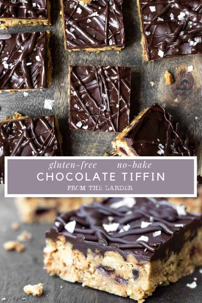 Image collage of Chocolate Tiffin bars with text overlay