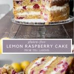Image collage of Lemon Raspberry Cake with text overlay