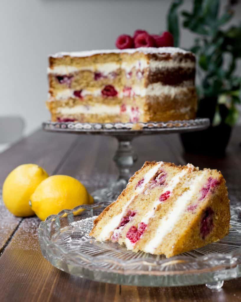 Slice of Lemon Raspberry Cake