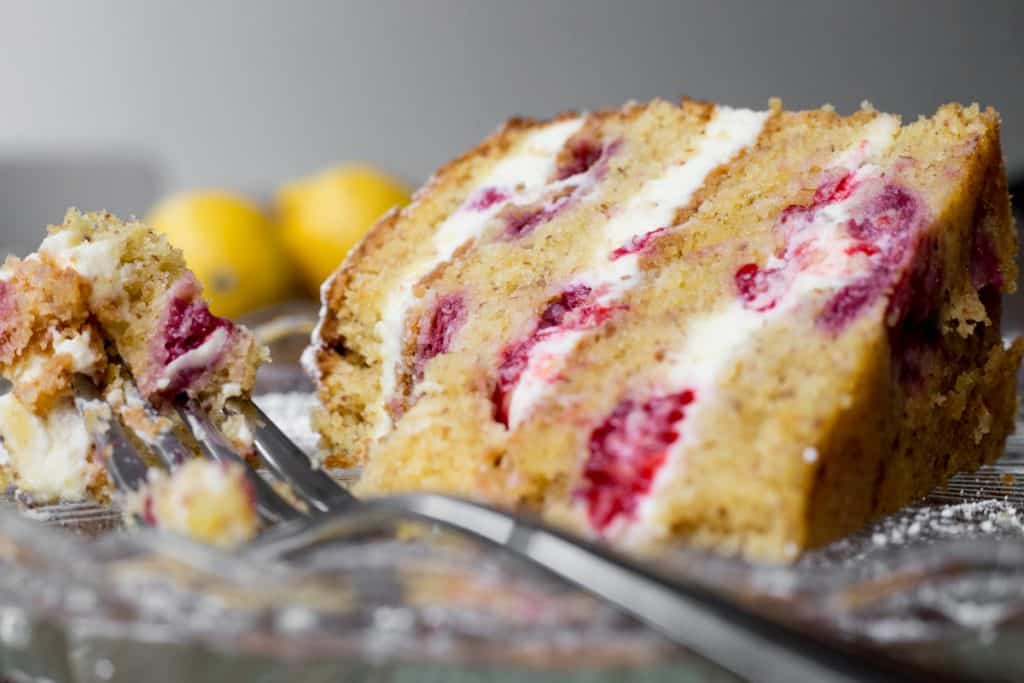 Close up of Slice of Lemon Raspberry Cake
