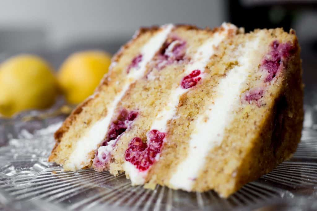 Close up of Slice of Lemon Raspberry Cake