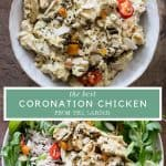 Image collage of a bowl of coronation chicken and coronation chicken salad with text overlay