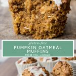 Image collage of Pumpkin Oatmeal Muffins with text overlay