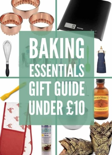 A collage of images of baking essential for stocking fillers with text overlay