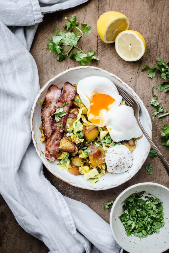 Bubble and Squeak in a white bowl