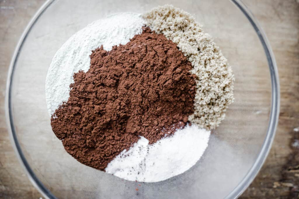 Dry ingredients in a bowl for chestnut brownies