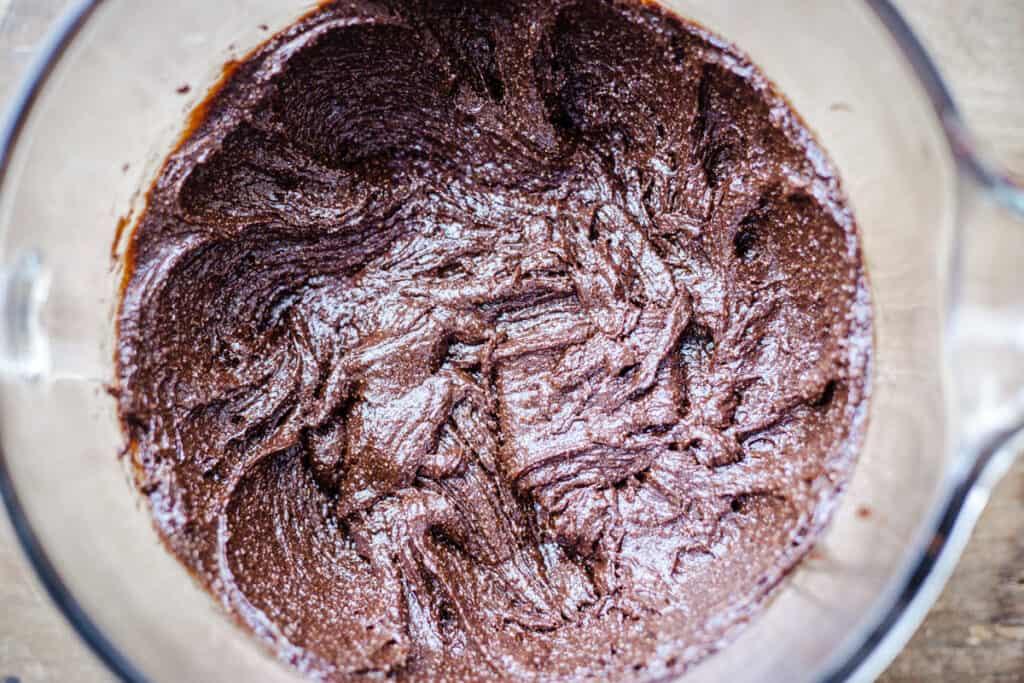 process shot - mixing chestnut brownies