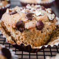close up of Banana Chocolate Chip Muffin