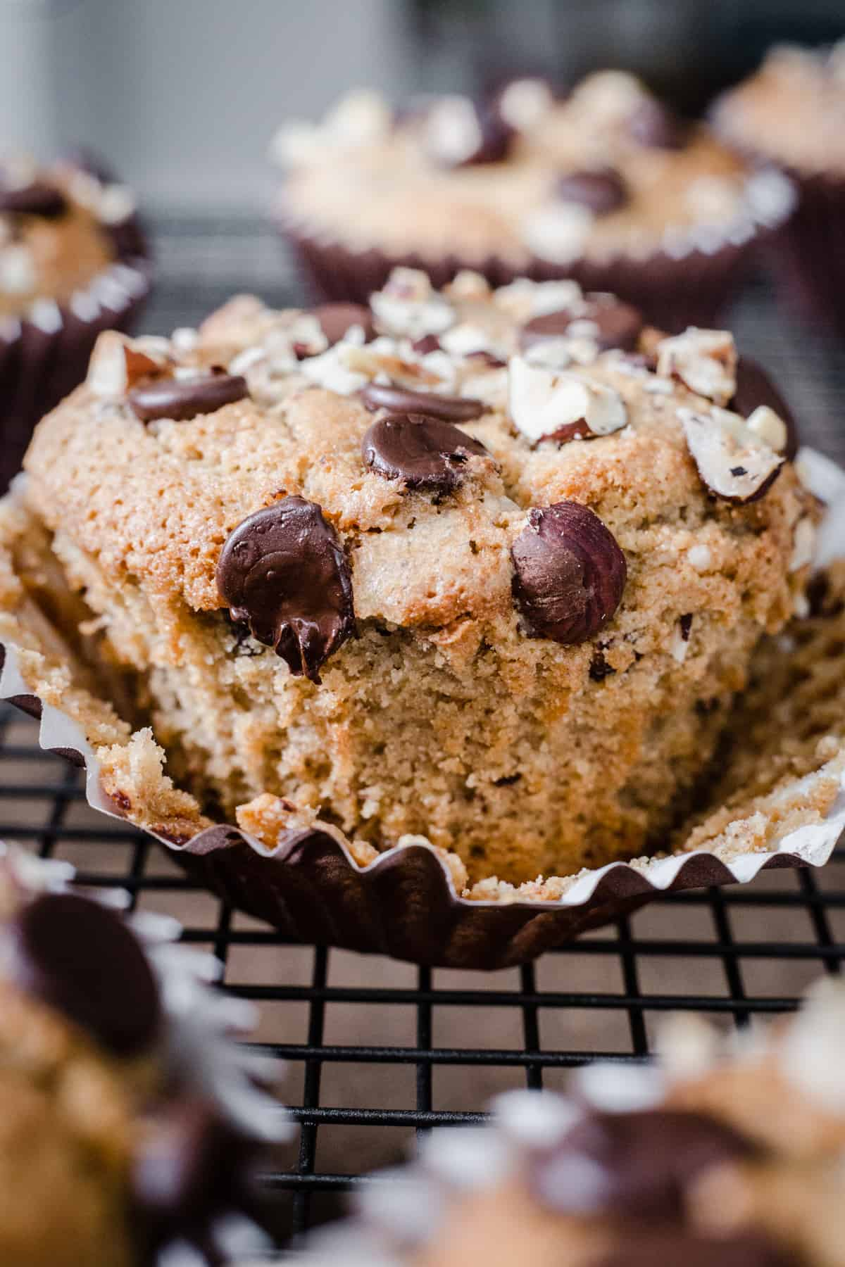 close up of Banana Chocolate Chip Muffin