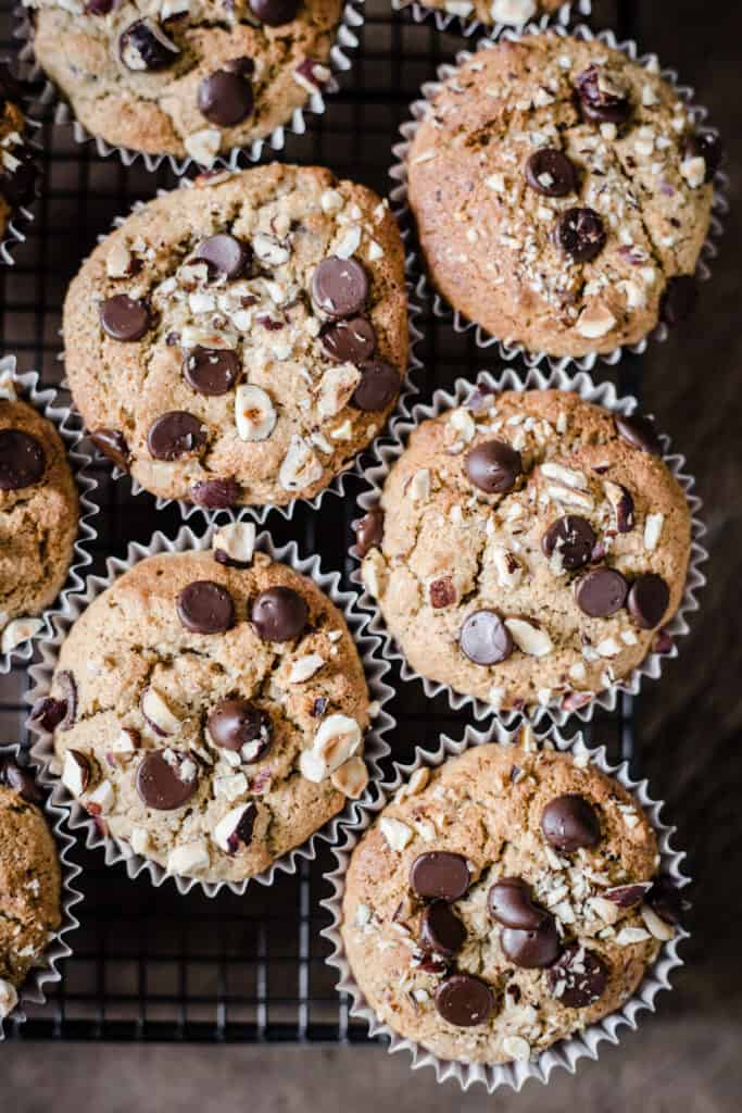Gluten-Free Banana Chocolate Chip Muffins on a wire rack
