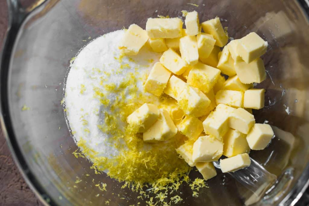 butter, sugar and lemon zest in a bowl