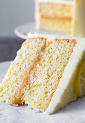 A slice of lemon curd cake on a