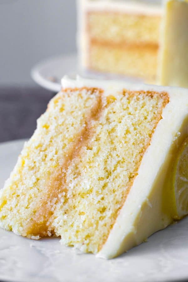 A slice of lemon curd cake on a