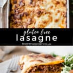 Pin Image of gluten-free lasagne on a plate with text overlay