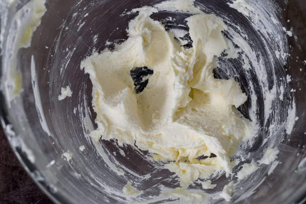 creamed butter and sugar in a mixing bowl