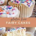 Pin image of gluten-free fairy cakes