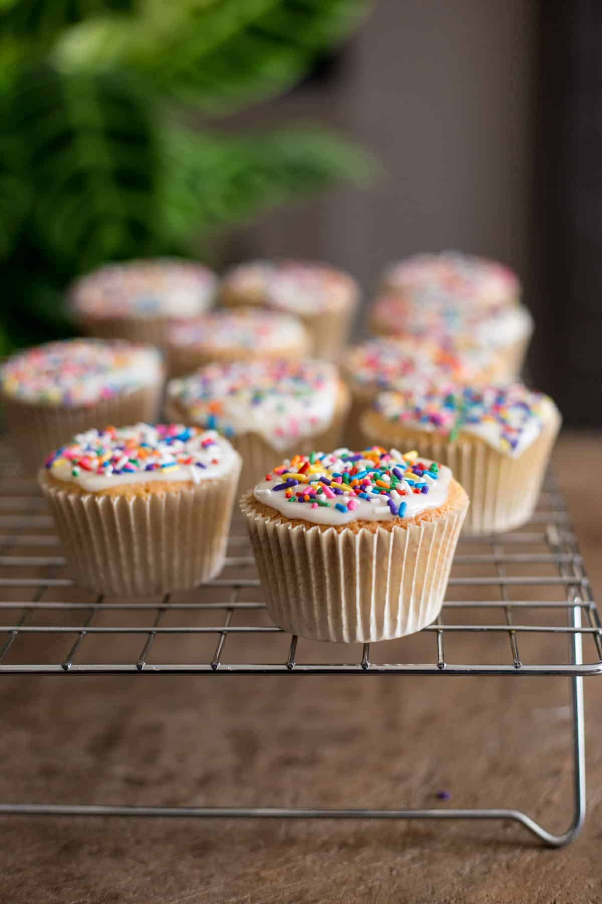 fairy cakes on a cooling rack