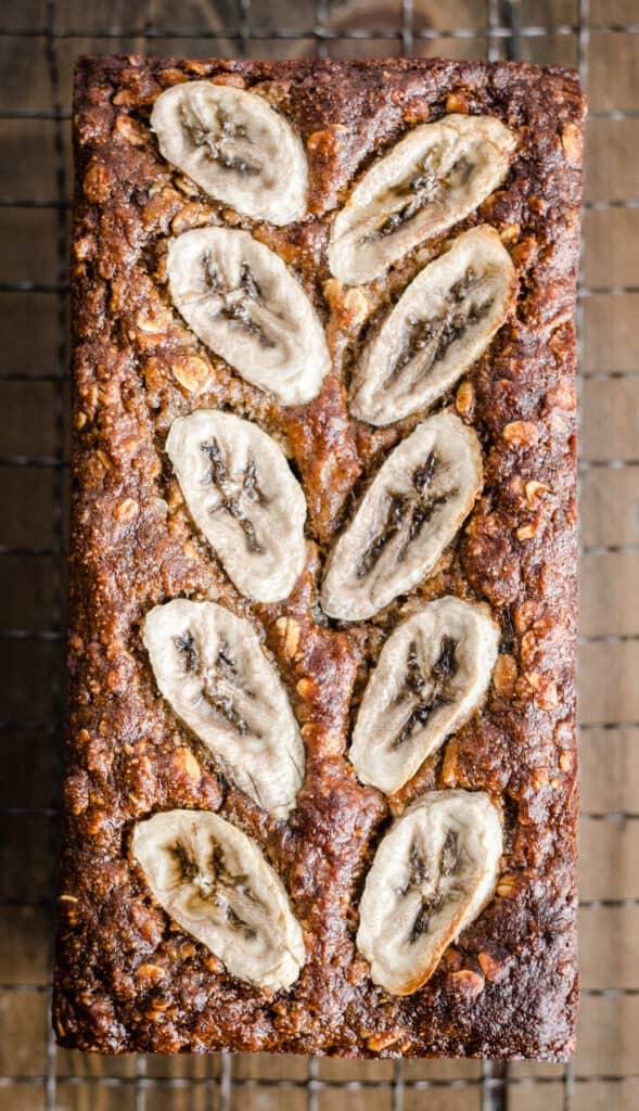 banana oat bread on wire rack