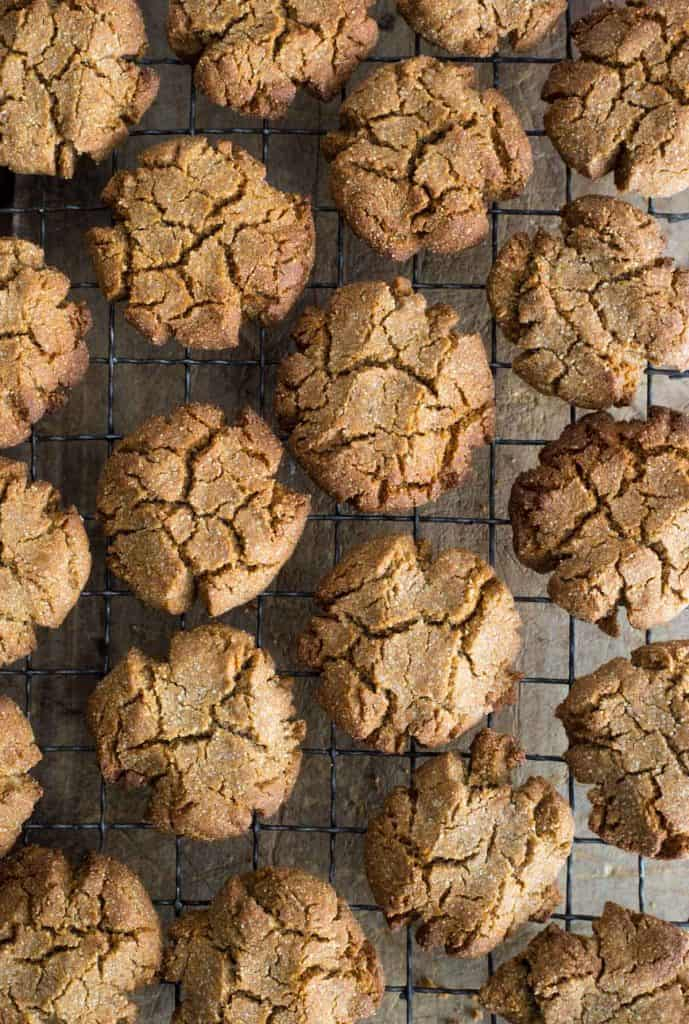 ginger biscuits on a cooling rack