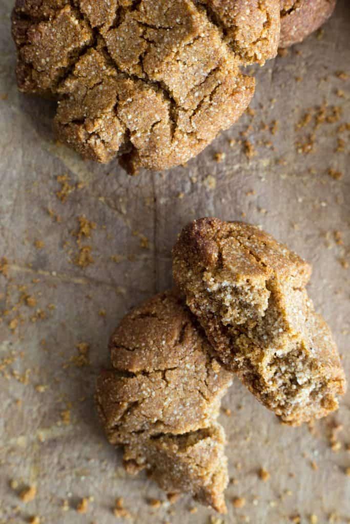broken ginger biscuit on a wooden board