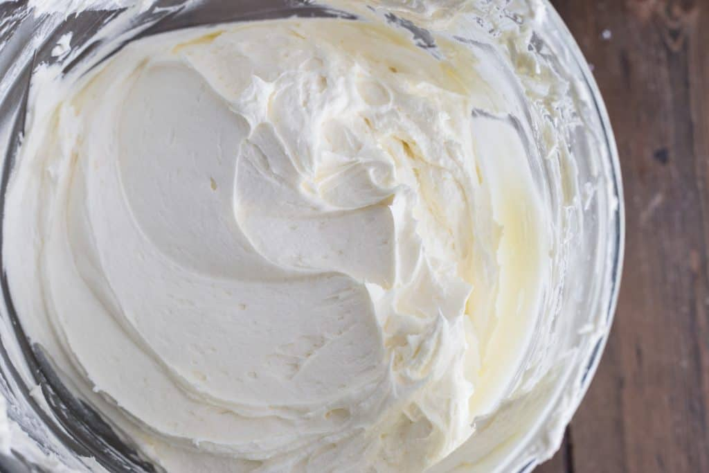 a bowl of cream cheese buttercream