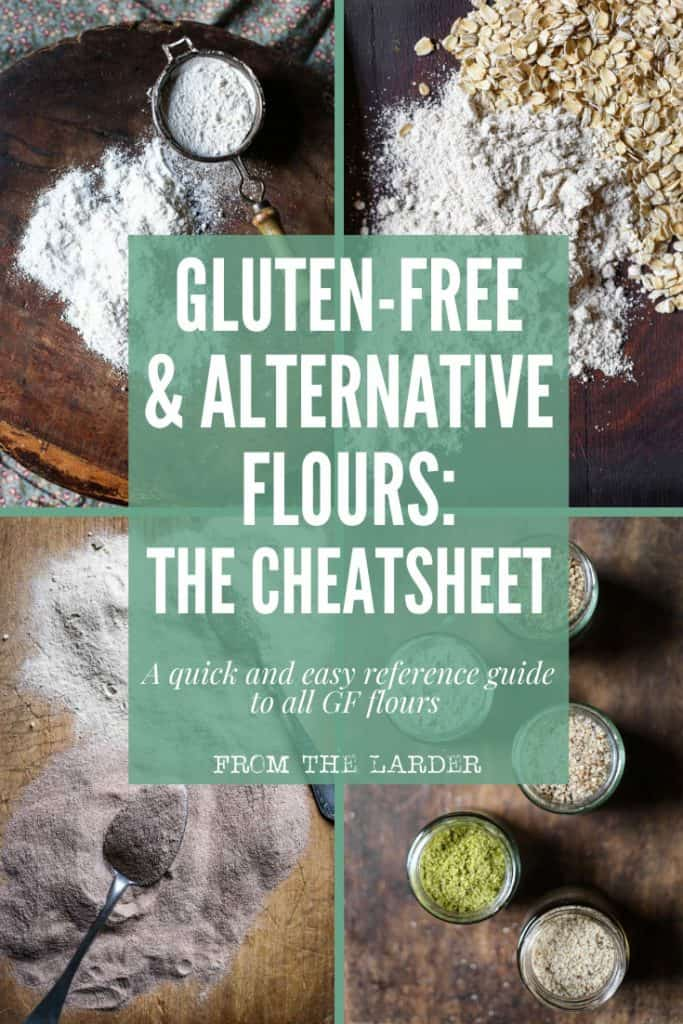 four images of gluten-free flour with text overlay saying gluten-free & alternative flours: the cheatsheet