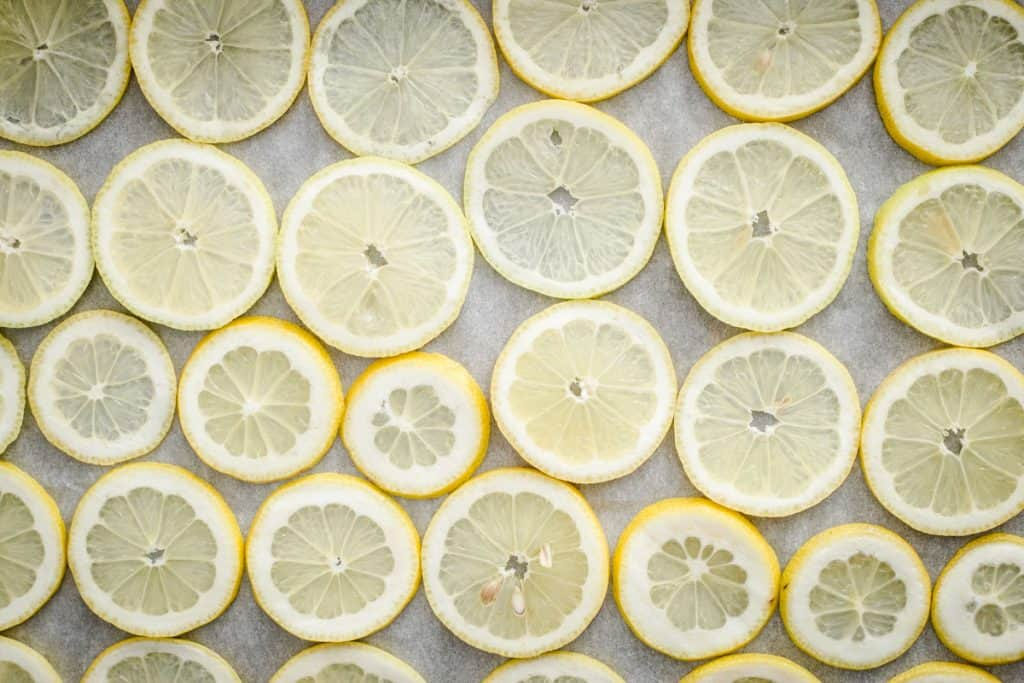 slices of lemon on a baking tray