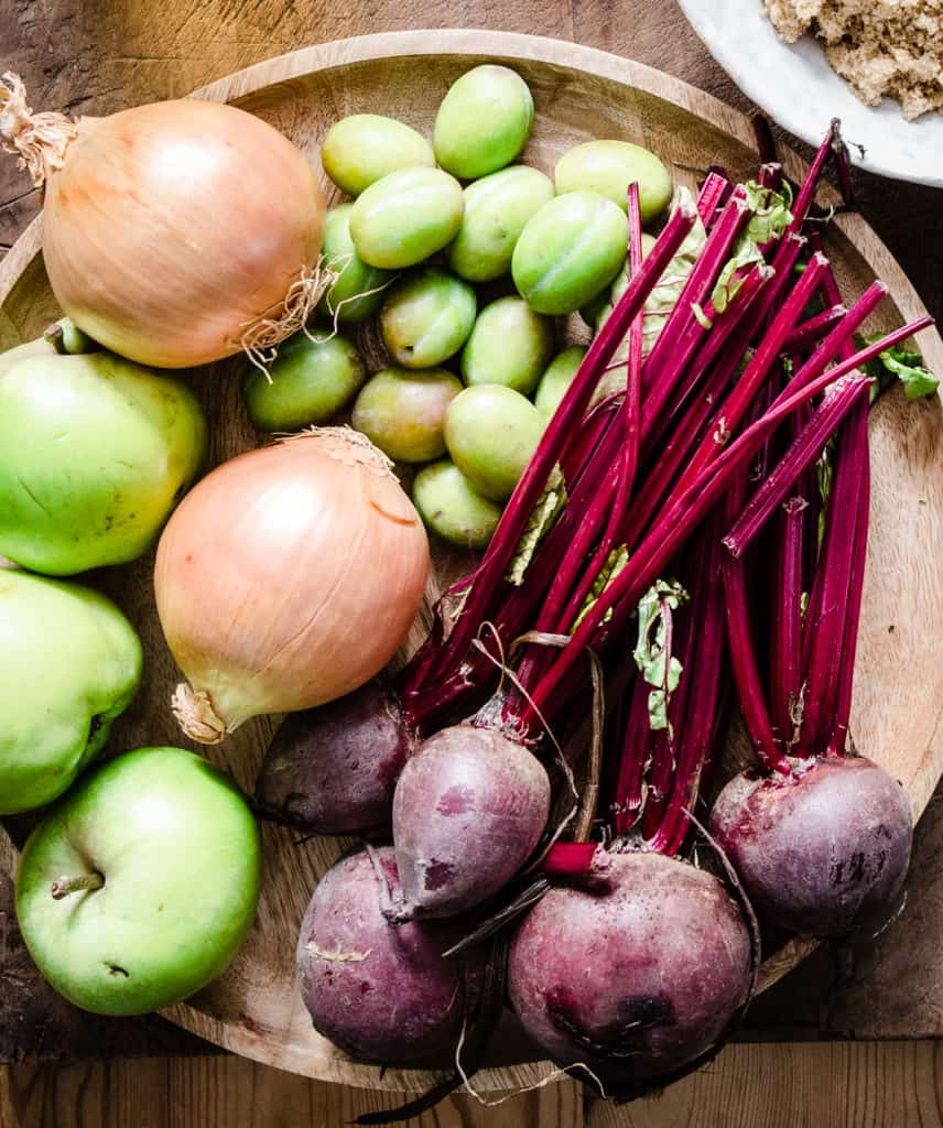 vegetable ingredients for plum and beetroot chutney