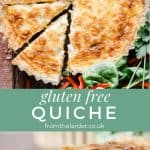 Pinnable image for gluten-free quiche with image of whole quiche and then another with a slice of quiche with bite taken out. Title text overlay.