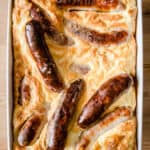 Toad in the Hole in a roasting dish