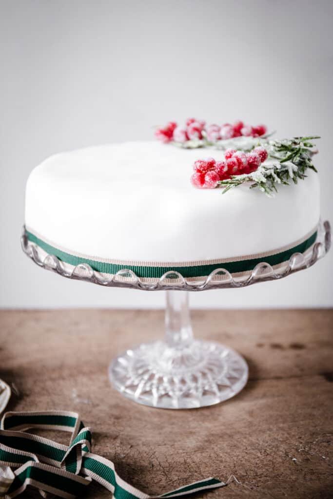Christmas Cake on a cake stand