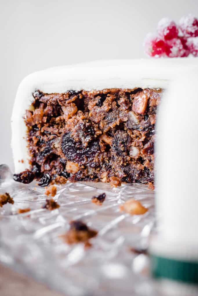 Side view of Christmas Cake with slice taken out