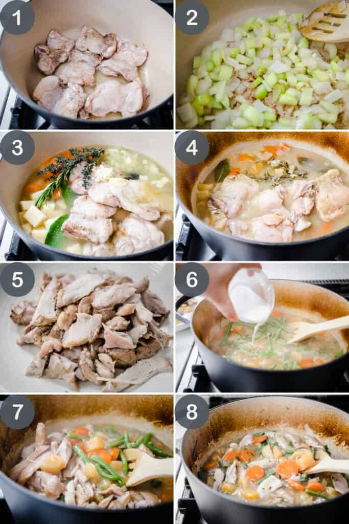 Photo Collage of steps to make Gluten-Free Chicken Casserol