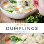 Pin image of dumplings recipe. Two images of Dumplings in a bowl with title text.